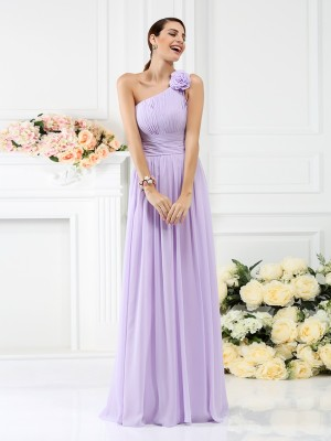 Treasured Reveries Princess Style One-Shoulder Pleats Hand-Made Flower Long Chiffon Bridesmaid Dresses