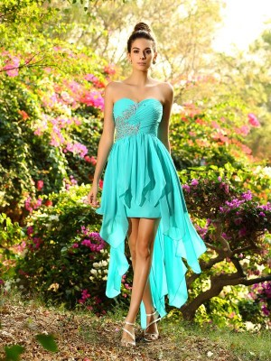Sweet Sensation Princess Style Sweetheart Beading High Low Chiffon Bridesmaid Dresses