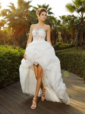 Yours Truly Princess Style Sweetheart Beading High Low Organza Wedding Dresses