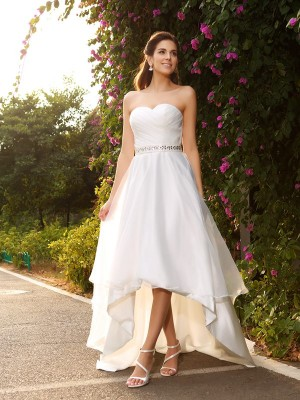 Vibrant Stylist Princess Style Sweetheart Beading High Low Organza Wedding Dresses