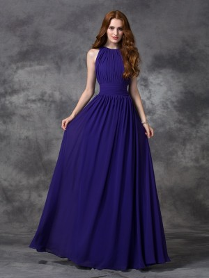 Befits Your Brilliance Princess Style Jewel Ruched Long Chiffon Bridesmaid Dresses