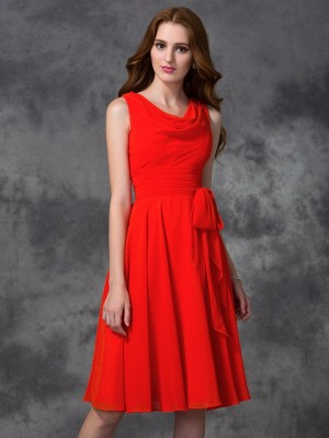 Modern Mood Princess Style Scoop Ruffles Short Chiffon Bridesmaid Dresses