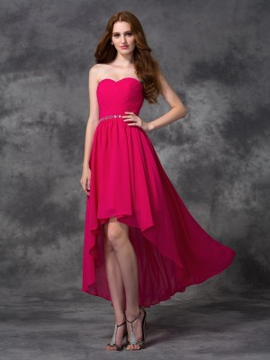 Eye-Catching Charm Princess Style Sweetheart Beading High Low Chiffon Bridesmaid Dresses