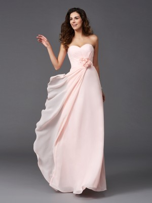 Eye-Catching Charm Princess Style Sweetheart Hand-Made Flower Long Chiffon Bridesmaid Dresses