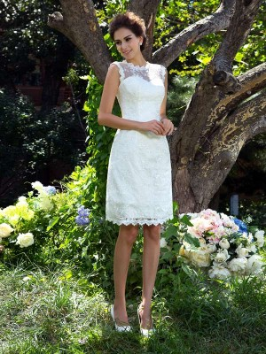 Styled to Smile Princess Style Sheer Neck Applique Short Satin Wedding Dresses