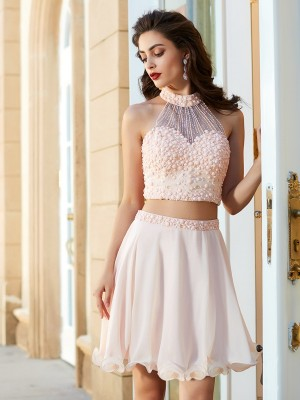 Aesthetic Honesty Princess Style Halter Beading Chiffon Short/Mini Two Piece Dresses