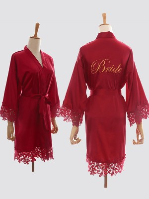 Gorgeous Silk like Satin With Lace Bride Robes