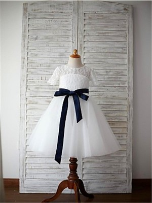 Pleasant Emphasis Princess Style Scoop Sash/Ribbon/Belt Tea-Length Tulle Flower Girl Dresses