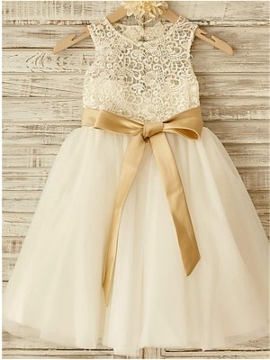 Styled to Smile Princess Style Scoop Bowknot Knee-Length Tulle Flower Girl Dresses