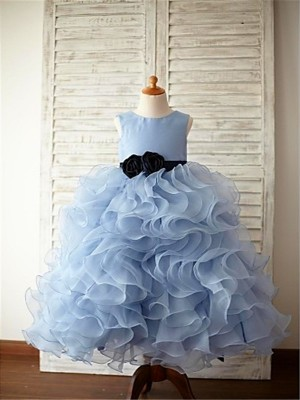 Comfortably Chic Ball Gown Scoop Ruffles Floor-Length Organza Flower Girl Dresses