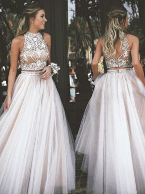 Just My Style Princess Style High Neck Tulle Beading Floor-Length Dresses