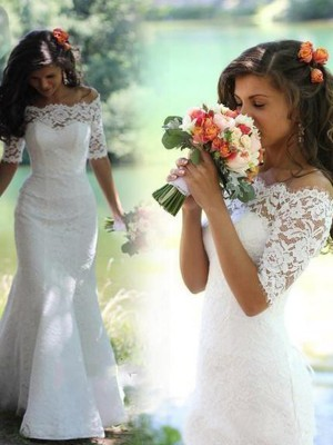 Savor the Occasion Mermaid Style Off-the-Shoulder Lace Sweep/Brush Train Wedding Dresses