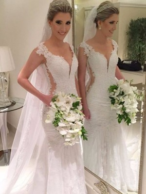 Cordially Delighted Mermaid Style Sweep/Brush Train V-neck Lace Wedding Dresses
