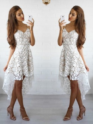 Limitless Looks Princess Style Spaghetti Straps Lace Short/Mini Dresses