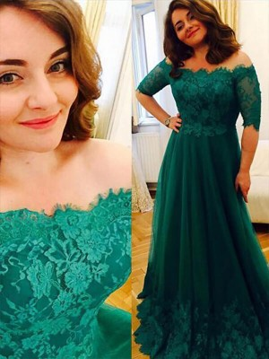 Easily Adored Princess Style Tulle Off-the-Shoulder Applique Floor-Length Plus Size Dresses