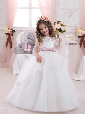 Memorable Magic Ball Gown Jewel Lace Floor-Length Tulle Flower Girl Dresses