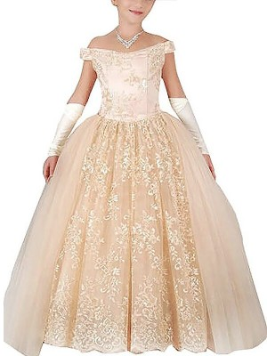 Glitz the Spot Ball Gown Off-the-Shoulder Applique Floor-Length Tulle Flower Girl Dresses