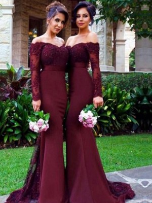 Limitless Looks Mermaid Style Off-the-Shoulder Satin Sweep/Brush Train Bridesmaid Dresses