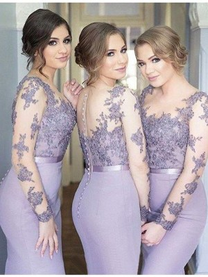 Savor the Occasion Mermaid Style Scoop Jersey Floor-Length Bridesmaid Dresses