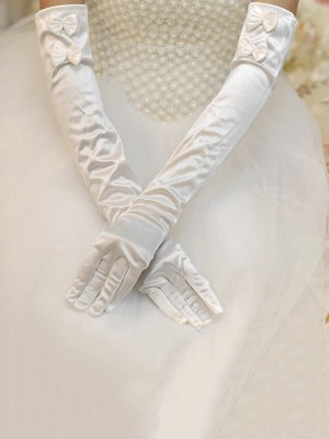 Graceful Cloth Bowknot Wedding Gloves