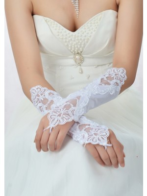 Fashion Stunning Beading Lace Satin Wedding Gloves