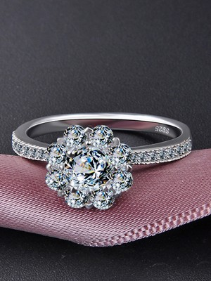 Elegant 925 Sterling Silver With Zircon Wedding Rings