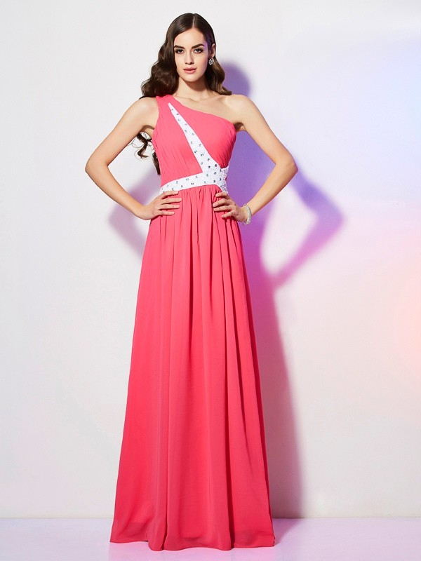 Modern Mood Princess Style One-Shoulder Beading Long Chiffon Dresses
