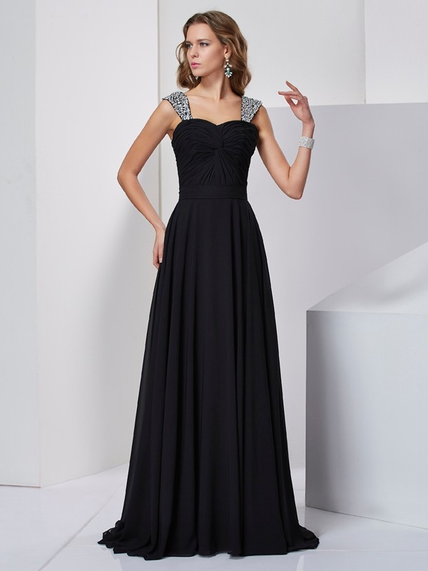 Absolute Lovely Princess Style Straps Beading Long Chiffon Dresses