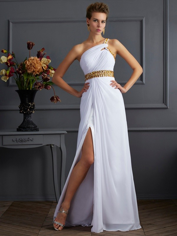 Visual Moment Princess Style One-Shoulder Beading Long Chiffon Dresses