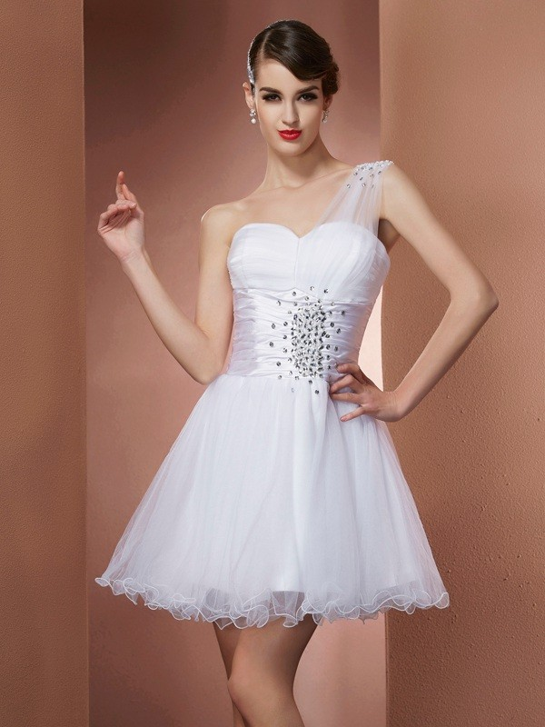 Too Much Fun Princess Style One-Shoulder Beading Short Net Homecoming Dresses