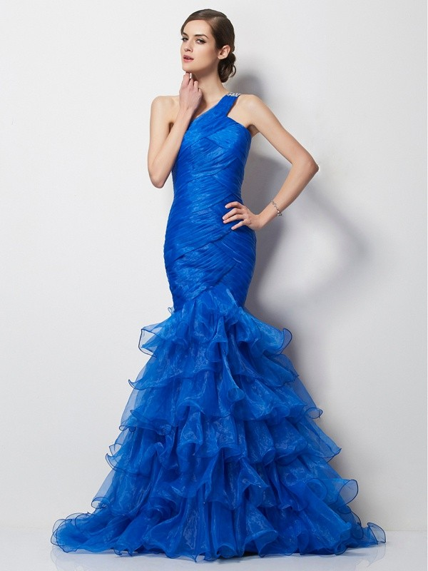 Yours Truly Mermaid Style One-Shoulder Pleats Long Tulle Dresses