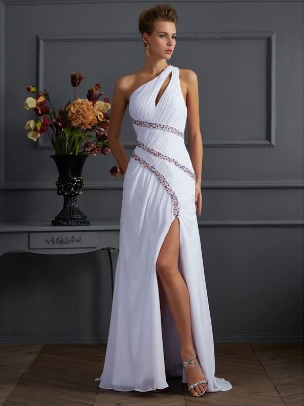 Just My Style Sheath Style One-Shoulder Beading Long Chiffon Dresses