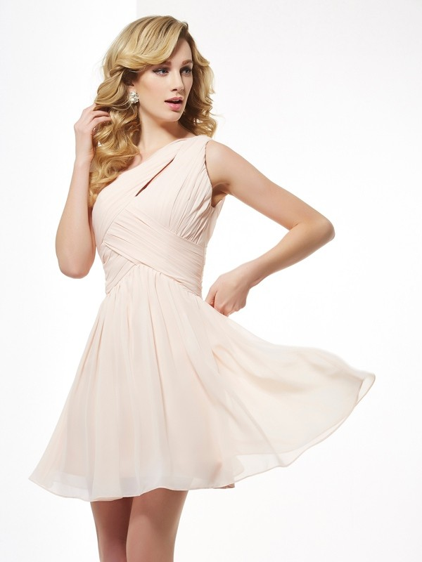 Embracing Grace Princess Style One-Shoulder Pleats Short Chiffon Homecoming Dresses