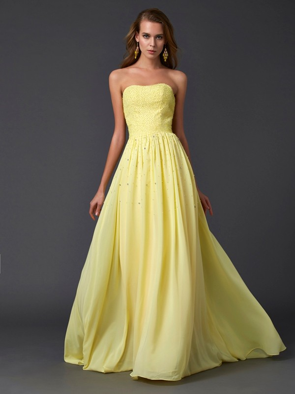 First Impressions Princess Style Strapless Pleats Long Chiffon Dresses
