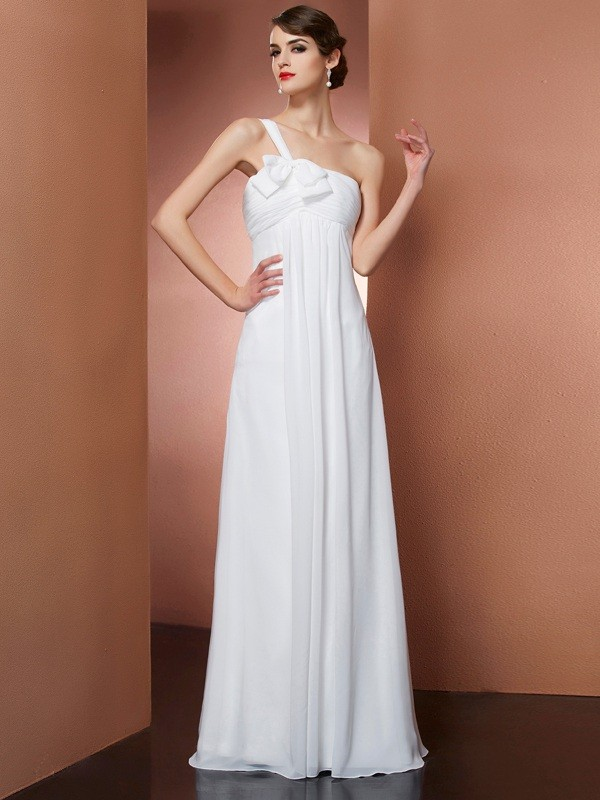 Savor the Occasion Princess Style One-Shoulder Bowknot Long Chiffon Dresses