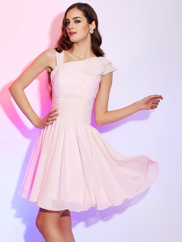 Defined Shine Princess Style Pleats Short Chiffon Homecoming Dresses