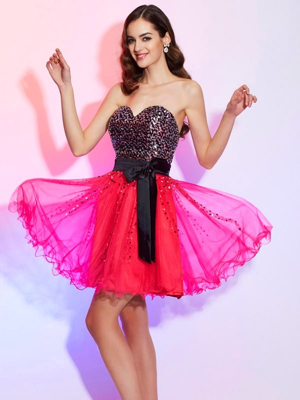 Embracing Grace Princess Style Sweetheart Sash/Ribbon/Belt Short Organza Homecoming Dresses