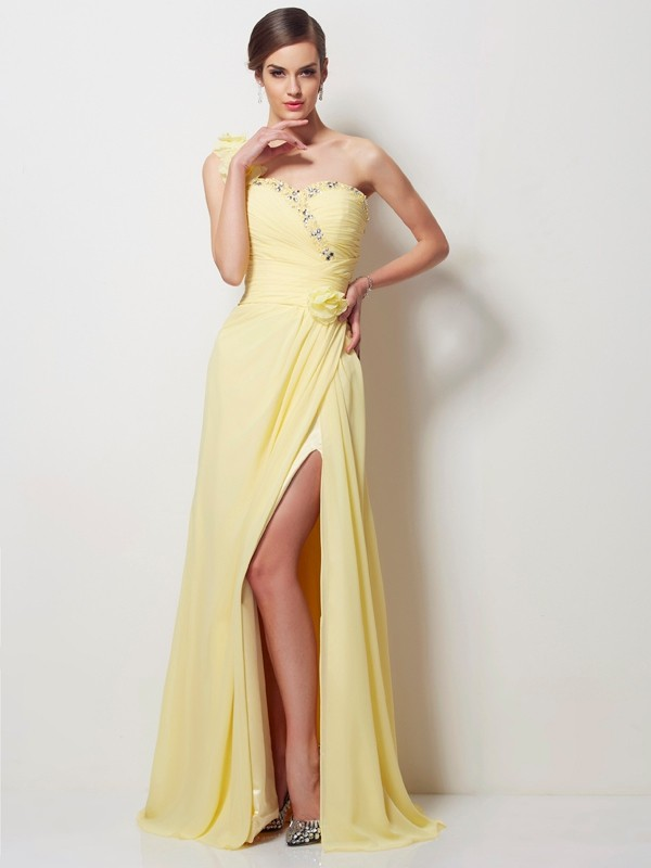 Intuitive Impact Princess Style One-Shoulder Beading Long Chiffon Dresses