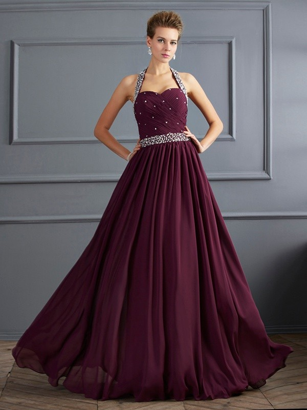 Absolute Lovely Sheath Style Halter Beading Long Chiffon Dresses