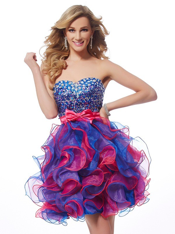 Pleasant Emphasis Princess Style Sweetheart Sequin Short Organza Homecoming Dresses