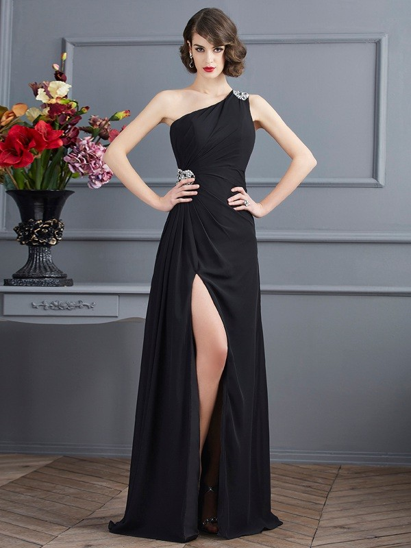 Comfortably Chic Sheath Style One-Shoulder Beading Long Chiffon Dresses