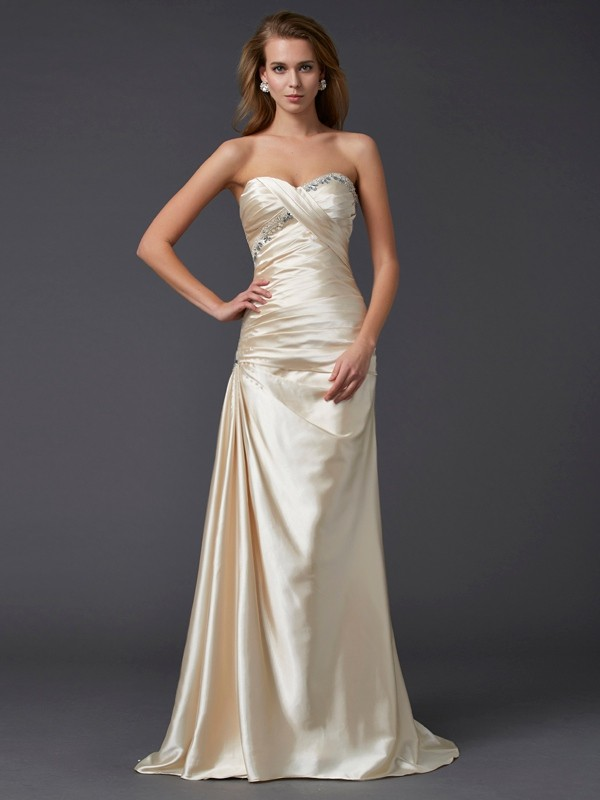 Cordially Delighted Sheath Style Sweetheart Beading Long Elastic Woven Satin Dresses