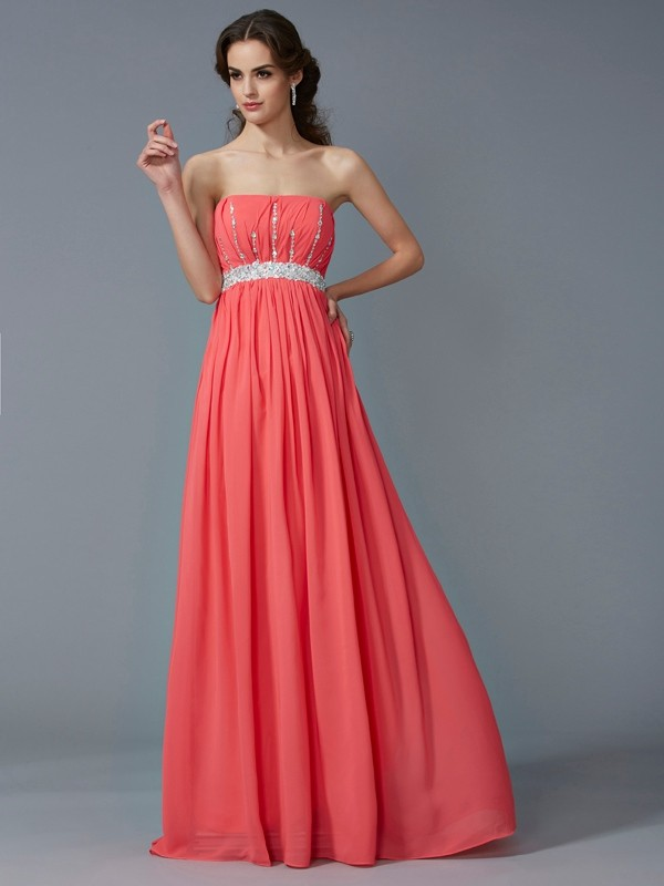 Pretty Looks Princess Style Strapless Beading Long Chiffon Dresses