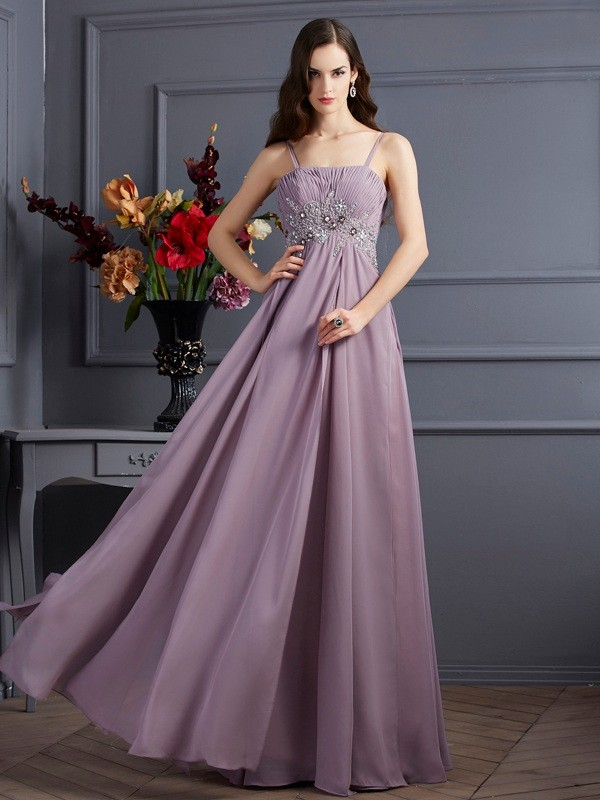 Memorable Magic Empire Spaghetti Straps Beading Long Chiffon Dresses
