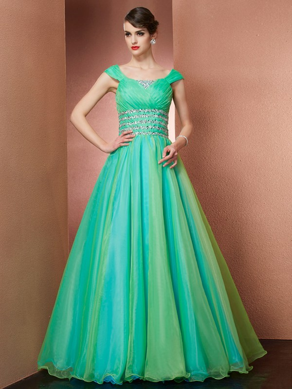 Stylish Refresh Ball Gown Off the Shoulder Beading Long Satin Quinceanera Dresses