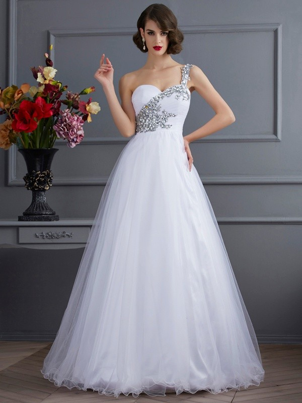 Intuitive Impact Ball Gown One-Shoulder Beading Long Elastic Woven Satin Quinceanera Dresses