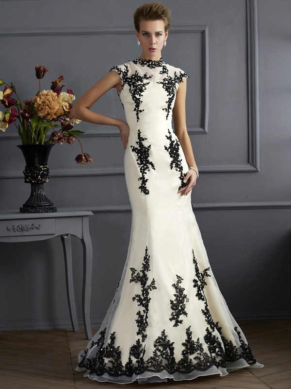 Limitless Looks Mermaid Style High Neck Applique Long Organza Mother of the Bride Dresses