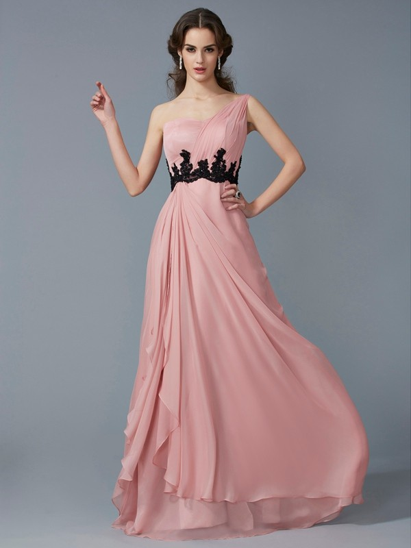 Desired Spotlight Princess Style One-Shoulder Beading Long Applique Chiffon Dresses