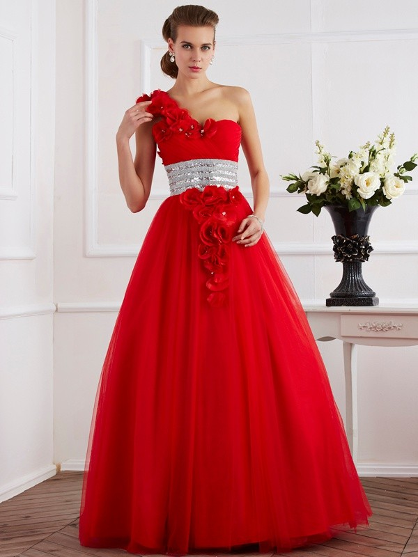 Voiced Vivacity Ball Gown One-Shoulder Hand-Made Flower Long Net Quinceanera Dresses