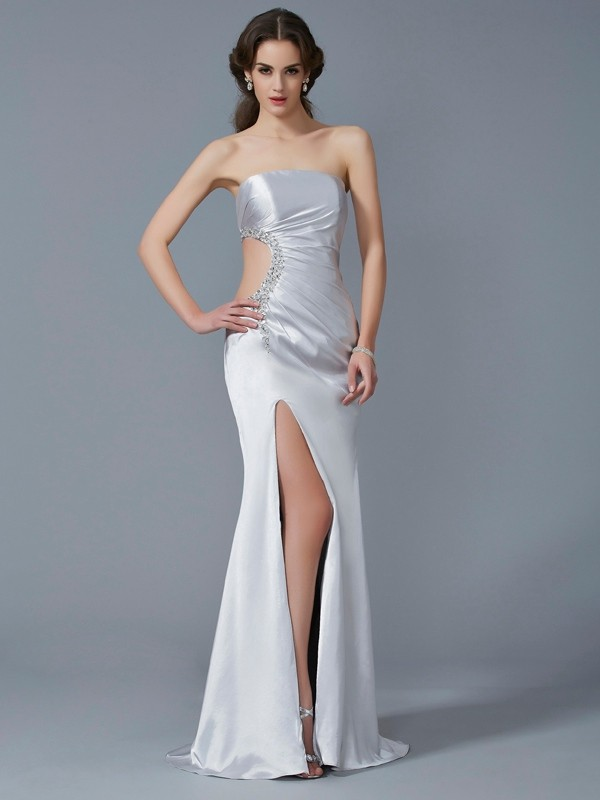 Cordially Delighted Mermaid Style Strapless Beading Long Elastic Woven Satin Dresses